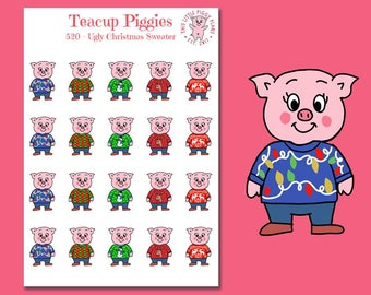 Teacup Piggies - Ugly Christmas Sweater Oinkers - Mini Planner Stickers - Ugly Christmas Sweater Stickers - Christmas - Holiday - [520]