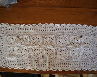 Vintage crochet table runner-100% Cotton