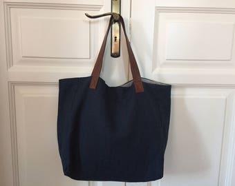 Leather beach bag | Etsy