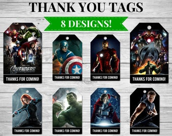 8x Avengers Thank You Tags, Avengers Party Favour Thank You Cards, Captain America, Iron Man, Hulk, Thor, Black Widow, Hawkeye