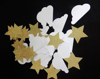 75 x Star and Cloud Glitter Confetti. Baby Shower, Christening. Handcrafted