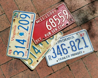 Vintage license plates. Lot of 4. 3 Virginia and 1 Mississippi