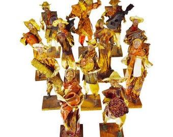12 Vintage 1960's Mexican Folk Art Handmade Paper Mache Figures