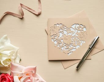 Rose Heart  Papercut Valentine Card Valentines Day Rose Gold Greetings Card