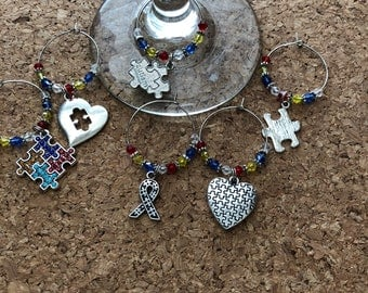 autism Themed Wine Charm Markers 6 markers