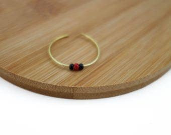 Thin ring gold, red and black