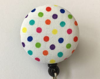 Retractable badge reel, colorful polka dots, great for nurses and medical staff
