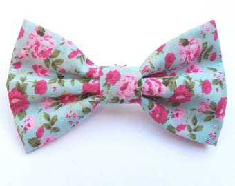 Blue and pink floral print dog collar bow tie