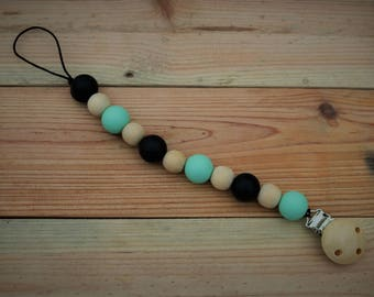 Pacifier clip- Mint oreo, soother safer, dummy chain, chewable pacifier chain
