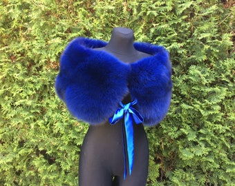 Blue Fox Fur Wrap