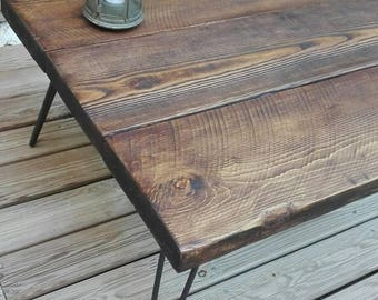 Coffee table in dark wood, Hairpin legs
