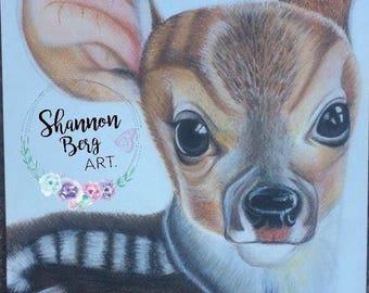 A3 FAWN baby deer Woodlands animal nursery print.