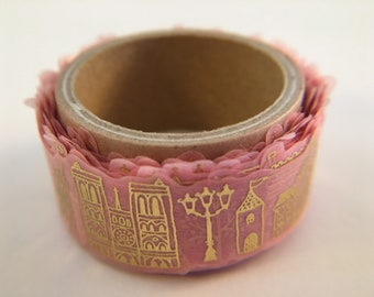 "ROUND TOP Katanuki Die-cut ""FRANCE"" Pink with Gold Foil Washi Masking Tape"