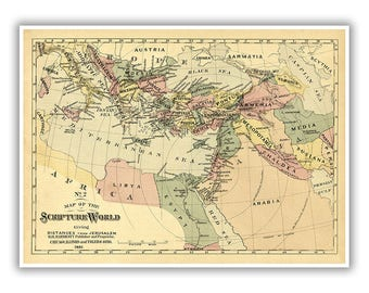 Holy land map etsy biblical map of the scripture world 1800s holy land middle east jerusalem gumiabroncs Choice Image