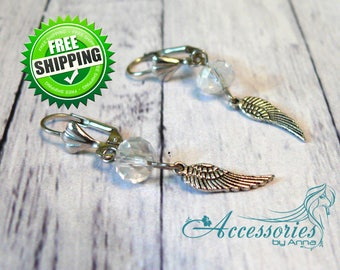 Angel wing earrings White Clear Swarovski crystal Bohemian jewelry Statement earrings Boho jewelry Symbol of lightness and spirituality