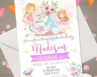 Fairy Tea Party Invitation Fairy Birthday Invitation Birthday Tea Party Garden Tea Party Tea Pot Watercolor Shabby Chic Invite Flowers Girl