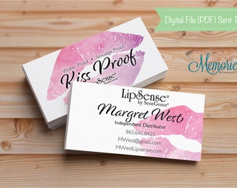 LipSense Business Card, SeneGence Business, Kiss Proof, Smudge Proof, Independent Distributor, Watercolor, Water Color, Printable