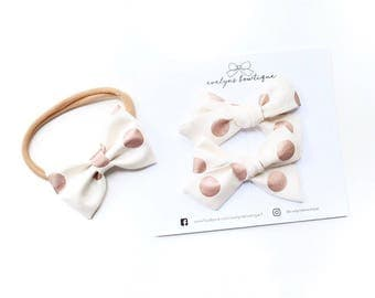Rose Gold Polka Dot | Baby headband set, Baby bow Headband, Small Bows, Baby Bows, Newborn headbands, Nylon Headbands,Baby hair bows,