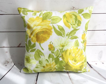Easter cushion cover, yellow green pillow cover, floral spring cushion cover,  16 14 inch sofa pillow cover,  12 x 18 inch cushion cover