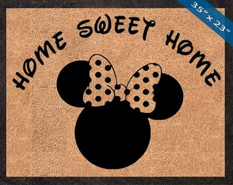 Home Sweet Home! Minnie Mouse Custom Disney Silhouette DoorMats door mat, Great for a Wedding, Birthdays, Housewarming, Graduation Present!