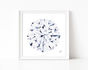 12x12 or 20x20 Watercolor Diamond Painting, Wall Art, Watercolor Painting, Abstract Painting, Art Prints, Giclee Print