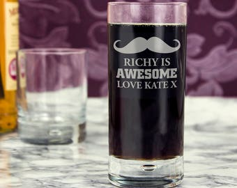 Personalised Moustache Hi Ball Bubble Glass Gifts Ideas For November Movember Men Beard Dad Uncle Brother Son Grandpa Birthday Christmas