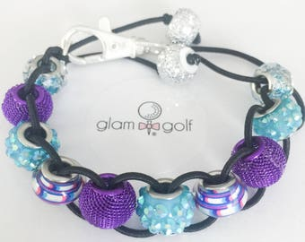 Glam Golf Classy golf gift for women A golf counter that can be used as a bracelet or clip to your bag with purple and blue glass beads
