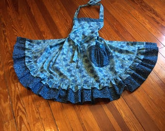 Blue Poppies Apron, double ruffles, buttons