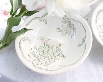 New Set of 6 Vintage Pasta Plate Soup Bowl Vintage Plate with a picture of grapes USSR unused 1980s