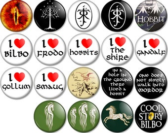 """Lord of the Rings and Hobbit 25mm / 1"""" (1 inch) Pin Button Badges Eye of Sauron Bilbo Frodo Gandalf Gollum Rohan Smaug Mordor JRR Tolkien"""