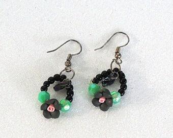 Black roses drop earrings