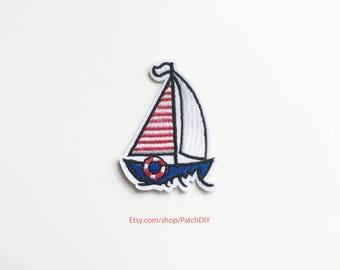 Patch SAILING BOAT iron on embroidered applique sailor traveler travel adventure waves ocean sea world wind passion DIY bag denim