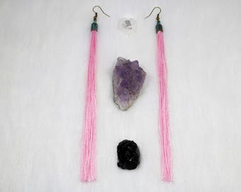 Pink Tassel Earrings // Tassel Jewelry // Tassels // Pink Tassels // Brass Earrings