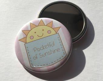 Pocketful of Sunshine Pocket Mirror compact 38mm handbag size