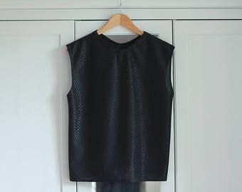 80s Vintage vest Retro shiny black top Shiny pattern 1980s Oldschool look New rave style / Medium Large /