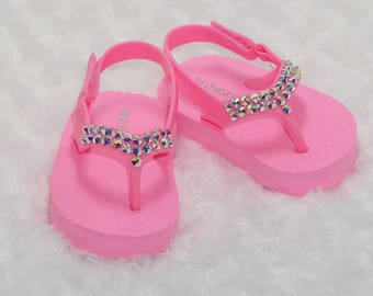 Pink Baby Flip Flops Embellished With Iridescent Crystals