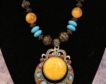 Tibetan Silver Center Turquoise Chunky Necklace