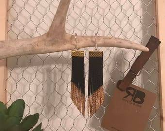 Black with Gold Leather Tassel Earrings