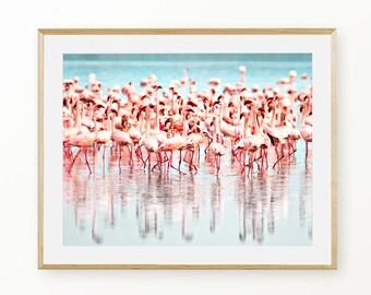 Flamingo Poster Art, Flamingo Wall Art, Pink and Green Wall Art, Flamingo Digital Download, Printable Wall Art, Digital Tropical Decor, Pink