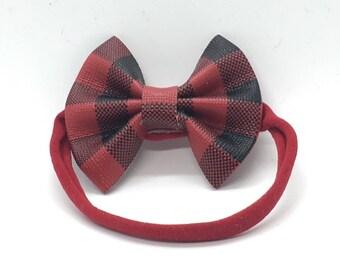 Faux leather hair bow, hair bows, plaid hair bows, baby hair bows, toddler hair bows, girls hair bows, plaid bow, bow headband, baby bows