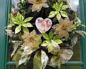 Christmas wreath, decomesh wreath,  black, gold, green, decoration, Christmas decoration, poinsettias, unique wreath