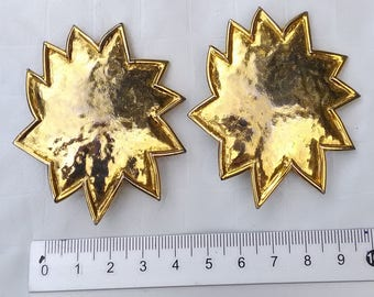 Edouard RAMBAUD Paris * clip - gold tone Sun earrings * very good condition