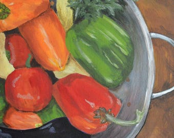 "Print of Original Acrylic Painting Vegetable Art, Peppers, Kitchen Art ""The More the Merrier"" by NJ Artist Linda Robinson"