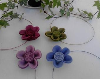 KIT multicolored felt flower Choker necklace