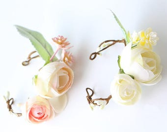 Silk Flower Peony Ranunculus Rose Corsage & Boutonniere // Wedding / Prom / Bridesmaids