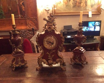French Antique Marble Mantel Clock and 2 Candle Holders Set