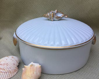 Seashell Accented Casserole Dish. Shafford Brand Covered Dish With Seashell  Handles. Mid Century.