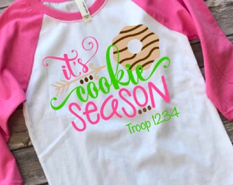 Girl Scout shirt / It's cookie season / girl scout cookies / Baseball tee / girl scout troop
