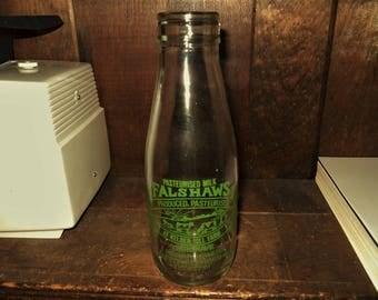 Falshaws Milk Produced At Kelber Hill Farm Vintage 8 1/2 Inch Dairy Milk Bottle Gargrave England - Free Shipping