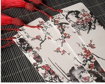 Chinese Art Calligraphy Red Color Ink PaintingHandmade Bookmark 6pcs/set for collectibles or as gift